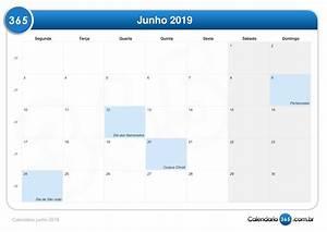 Calendário junho 2019