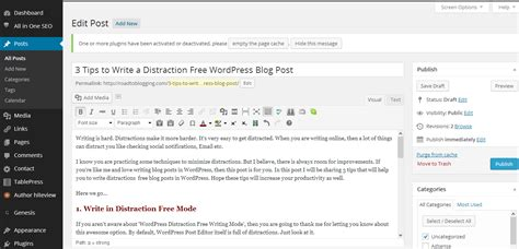 3 Tips To Write A Distraction Free Wordpress Blog Post