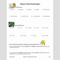 Adding & Subtracting Integers  20 Problems With Answer Key Tpt