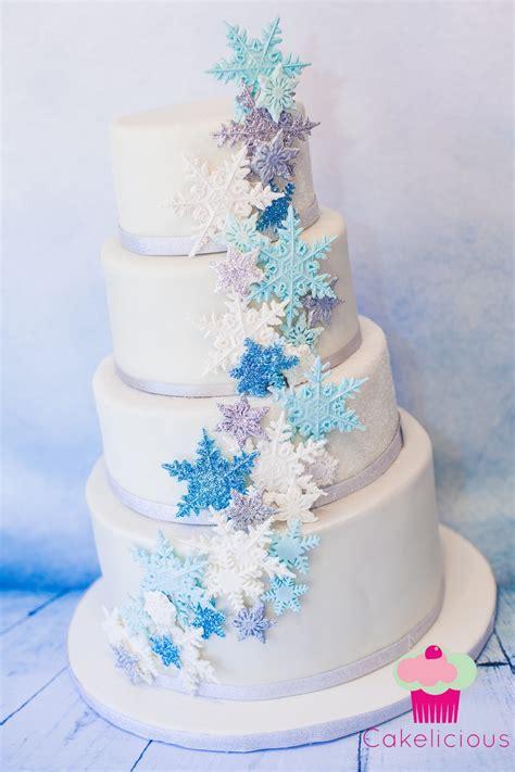 sparkly blue cascading snowflake cake cakecentralcom