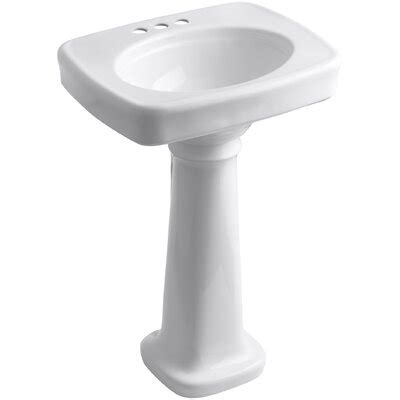 Kohler Bathroom Pedestal Sinks by Kohler Bancroft 24 Quot Pedestal Bathroom Sink Reviews Wayfair