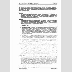 Prufrock Analysis Worksheet Answer Key  Free Printables Worksheet