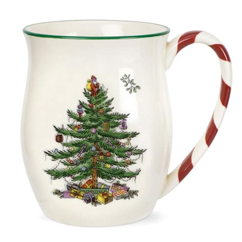 spode christmas tree mug with peppermint handles set of 4
