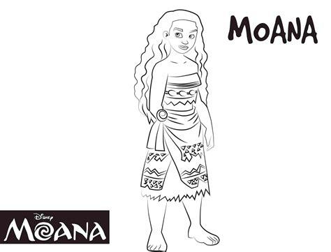 dibujo  colorear de princesa moana waialiki personaje pelicula disney