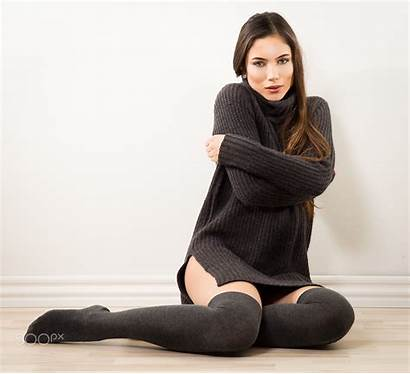 Thigh Highs Brunette Knee Sweater 500px Looking