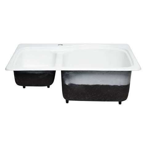 60 40 drop in kitchen sinks 33 quot scovell 60 40 offset double bowl cast iron drop in