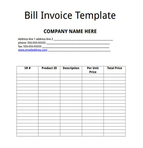 billing invoice template   word  format