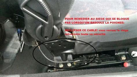 siege auto 206 cc 2 siège passager 206 3 portes ne se bloque plus