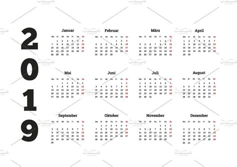 2019 Year Simple Calendar On German
