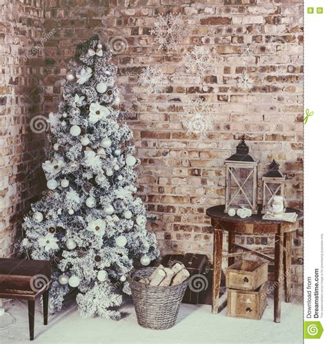 loft christmas room stock photo image  modern firewood