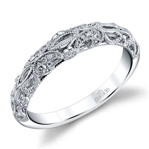 windowed matching diamond wedding ring in white gold by parade
