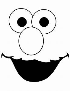 free cookie monster head coloring pages With elmo cut out template