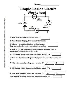 Simple Circuit Series Worksheet Scorton Creek