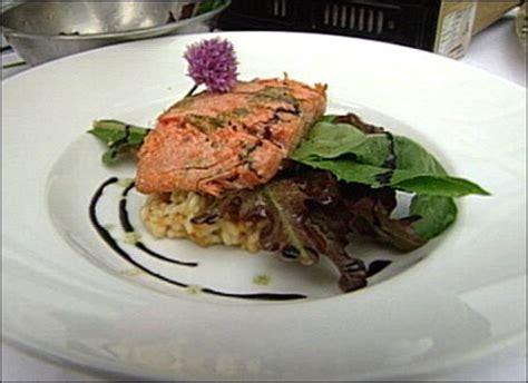 salmon fillet  sea urchin risotto recipe pbs food