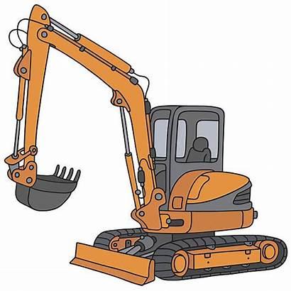 Excavator Clip Orange Vector Mini Cartoon Construction