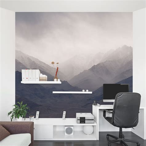 how to decorate office at mountains wall mural