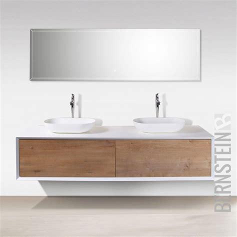 Waschtisch Modelle Fuers Badezimmer by Badm 246 Bel 180 Cm Eiche Led Spiegel Aufsatzwaschbecken