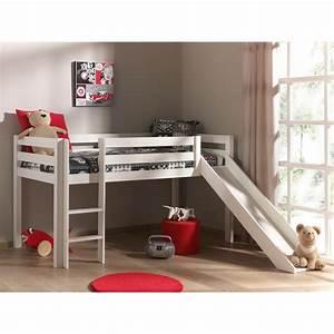 Echelle Pour Lit En Hauteur : lit mi hauteur toboggan 90x200 pin armance faustin blanc ~ Premium-room.com Idées de Décoration