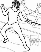 Fencing Coloring Olympic Games Pages Coloringsky Colouring sketch template
