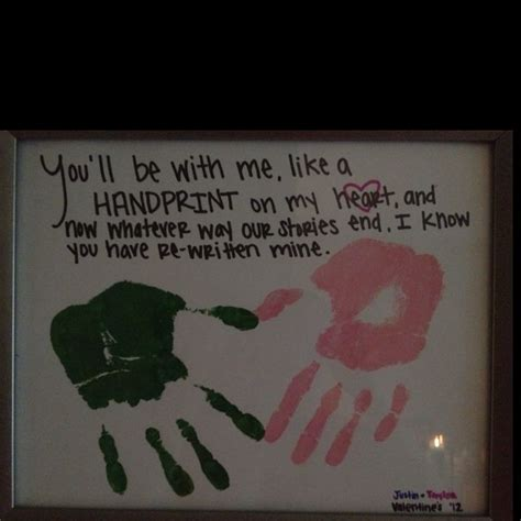 my newest craft justin and i put our handprints on a paper on valentines day and i wrote the