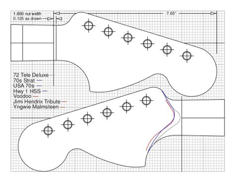 The Pdf Template Fender Stratocaster Standerd Headstock by Headstocks