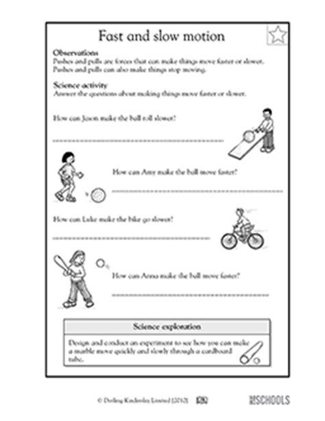 1st Grade, 2nd Grade, Kindergarten Science Worksheets Fast And Slow Motion Greatschools
