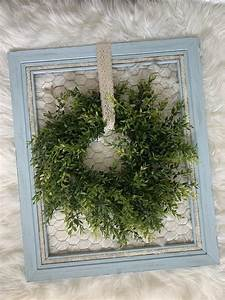 Distressed, Chicken, Wire, Frame, With, Wreath