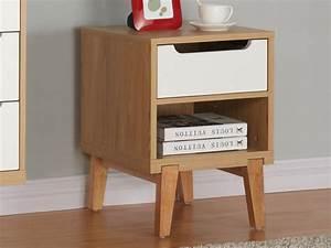 Table De Chevet Blanc Et Bois : chevet taby 1 tiroir et une niche bois mdf blanc scandinave ~ Teatrodelosmanantiales.com Idées de Décoration