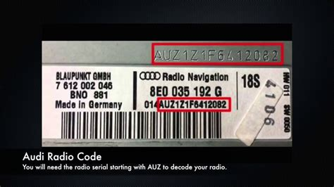 audi radio code serial number pin unlock