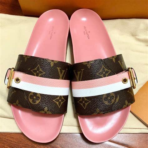 louis vuitton pink  limited bom  mule monogram lv logo  white af brown sandals