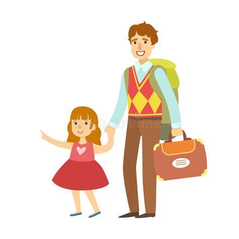 有去她的女儿的父亲旅行 五颜六色的漫画人物 向量例证 插画 包括有 93493782