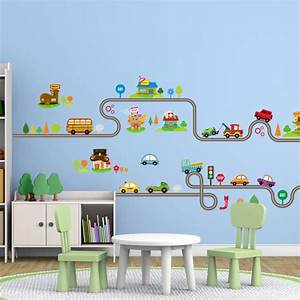 cartoon car bus highway track wall stickers for kids With wall decals for kids rooms