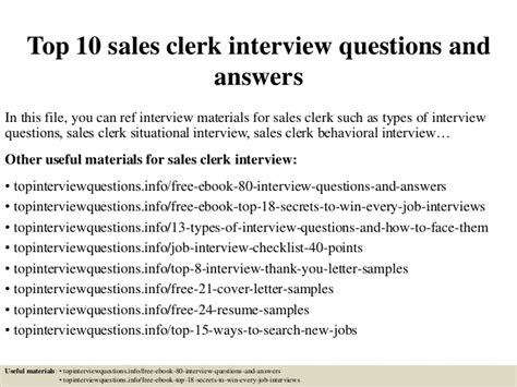 top  sales clerk interview questions  answers