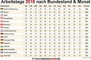 Arbeitsstunden Berechnen Pro Monat : anzahl arbeitstage 2018 in deutschland nach bundesland monat ~ Themetempest.com Abrechnung