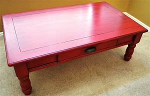 B39s refurnishings red coffee table privately sold for Red distressed coffee table