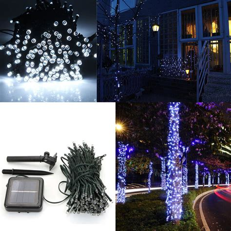 led pure white solar power string lights outdoor