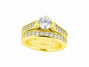 Genuine 300ct round diamond cathedral engagement ring set for Sell wedding ring set