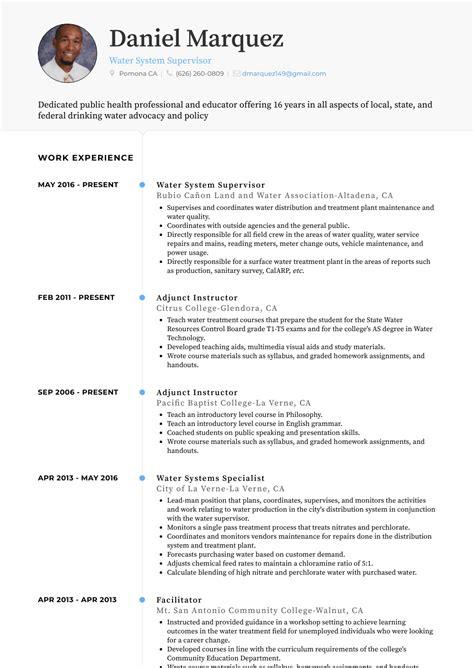 Sle Adjunct Professor Resume by Adjunct Instructor Resume Sles Templates Visualcv