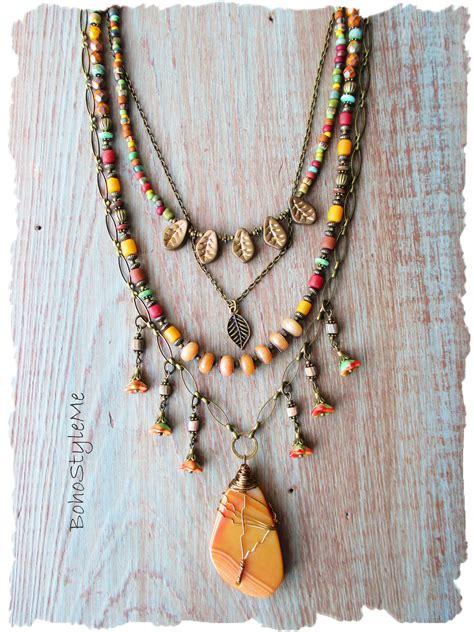 Bohemian Necklace, Gemstone Beaded Boho Style Necklace ...