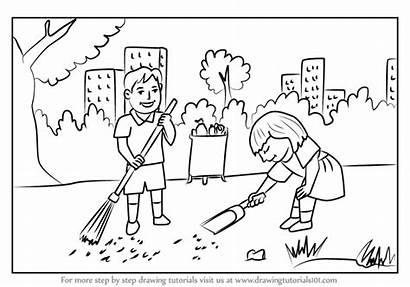Cleaning Draw Scene Drawing Children Kid Tutorials