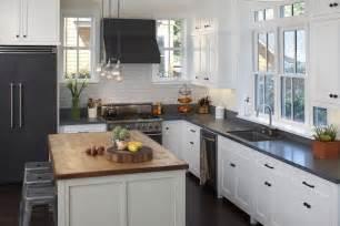 black refrigerator transitional kitchen artistic