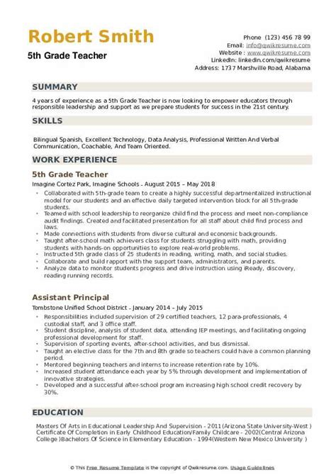 Grad Resume by 5th Grade Resume Sles Qwikresume