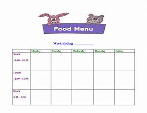 6 best images of printable sample day care menu food With blank daycare menu template