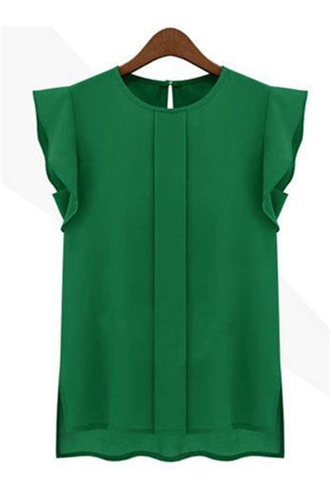 womens green blouse kettymore solid pattern chiffon shirt and blouse