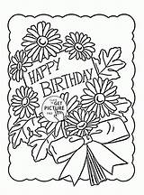 Birthday Coloring Happy Cards Printables Printable Cake Holiday Funny 1st Wuppsy Birthdays sketch template