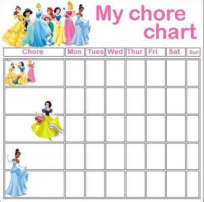 Free Printable Princess Chore Charts