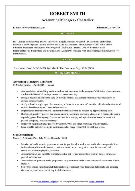 Resume For Accounting Manager by Accounting Manager Controller Resume Sles Qwikresume