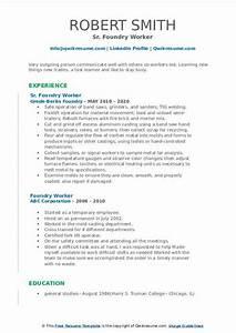 Maintenance Worker Resume Foundry Worker Resume Samples Qwikresume