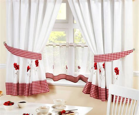 """Poppies Red Embroidered Gingham Kitchen Curtains & 24"""" Cafe Panel *5 Sizes* Curtain Fabric Red Poppies White And Blue Blackout Curtains Ideas For Making Bedroom How To Pick Out The Right Where Hang Rods On Window Best Block Light Heat Calculate Required Do U Measure A"""