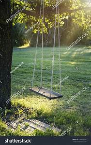 Old Wooden Vintage Garden Swing Hanging Stock Photo ...